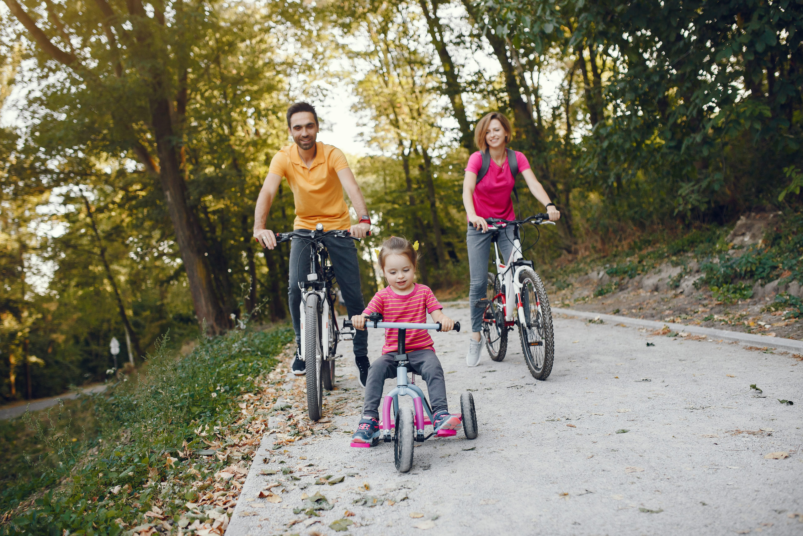 Family in a park. People with a bicycle. Parents with little daughter.