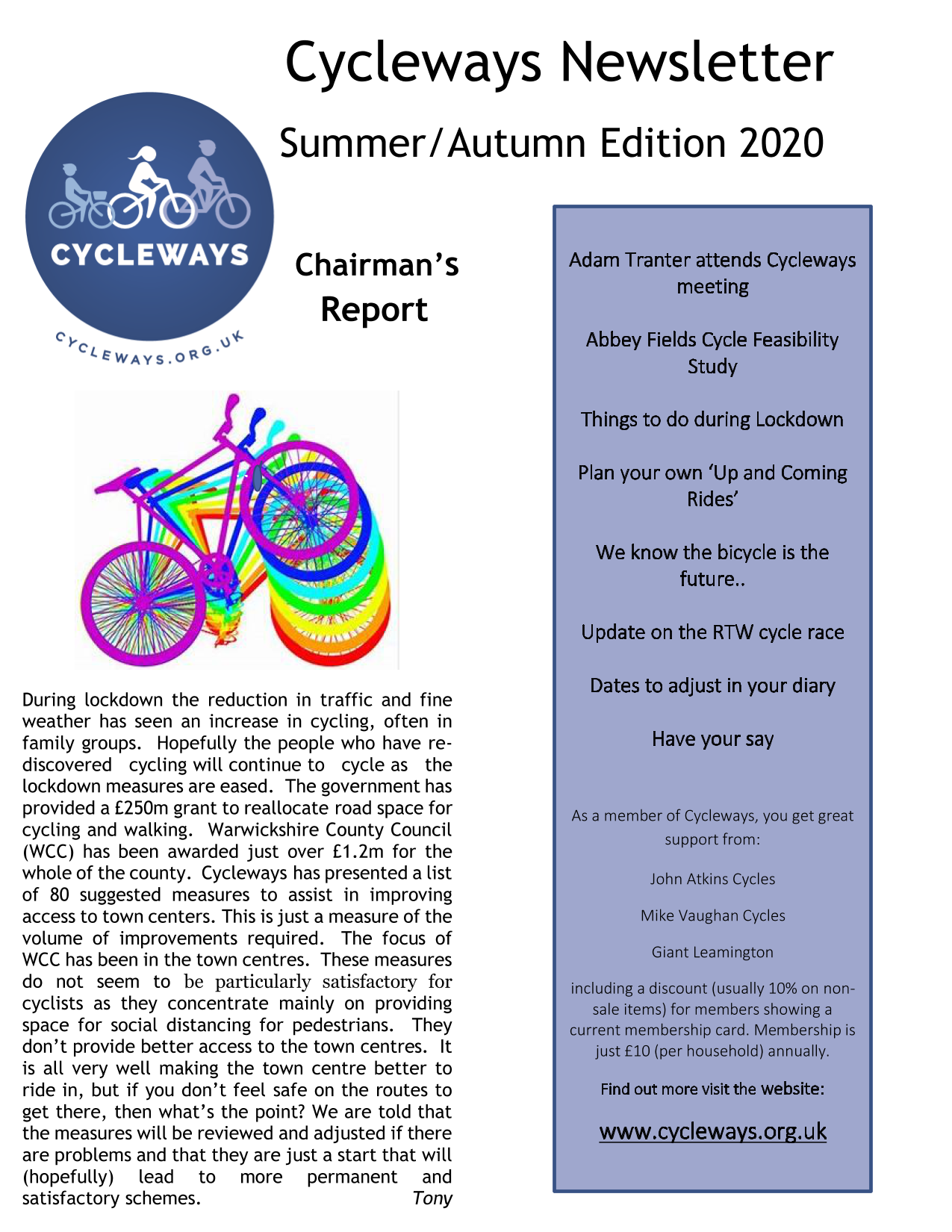 Cycleways -Newsletter Summer Autumn 2020 v 1.1_page1